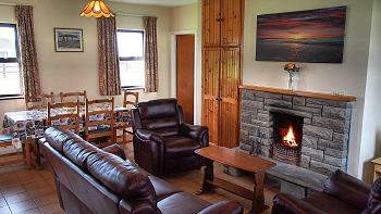 Living/dining room with open fire place